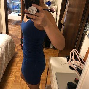 Velvet Ruched Sexy Tank Dress Blue